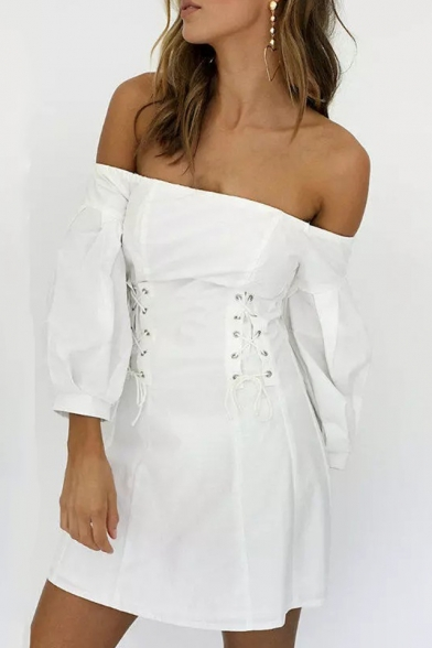 Fashion White New Arrival Off Shoulder Long Sleeve Eyelet Lace Up Mini A-Line Dress