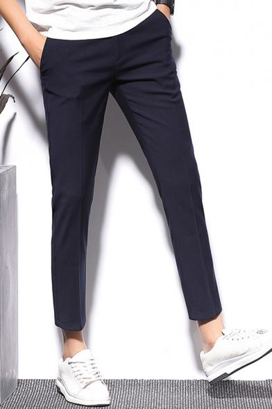 Guys Fashion Simple Plain Slim Fit Straight Tailored Suit Pants Dress Pants