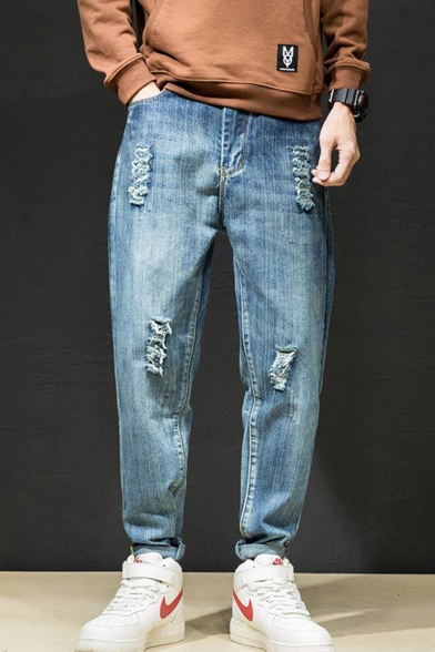 Guys New Stylish Blue Plain Denim Washed Casual Tapered Ripped Jeans