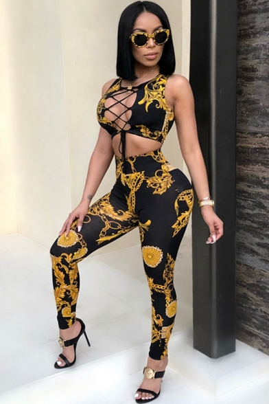 Hot Fashion Sleeveless Cutout Black Floral Leaf Print Skinny Jumpsuits for Girls