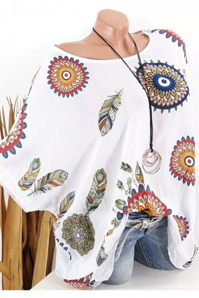 Hot Popular White Tribal Circle Print Round Neck Batwing Sleeve Blouse