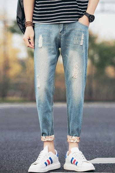 Men/'s Adjustable Zipped Knee Retro Style Jeans