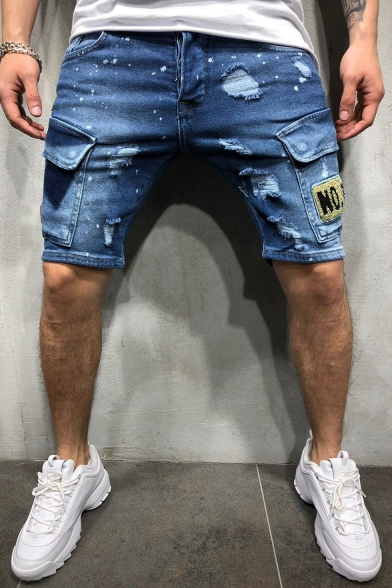 Men's Fashion Ripped Detail Letter Tiger Patchwork Flap Pocket Side Light Washed Denim Shorts