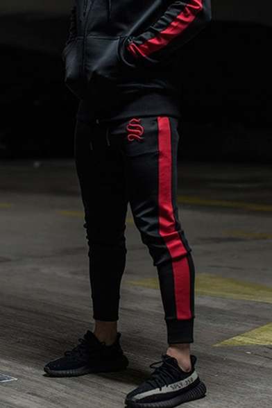 Men's Hot Fashion Colorblock Patched Side Logo Embroidery Drawstring Waist Slim Jogging Pants Sports Pencil Pants