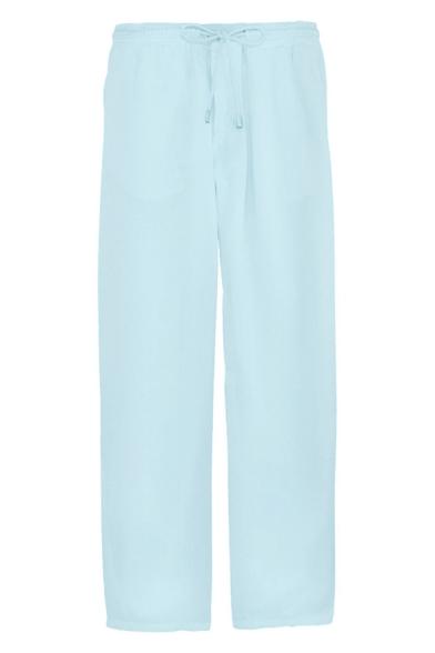 Men's Hot Fashion Simple Plain Drawstring Waist Linen Wide Leg Pants