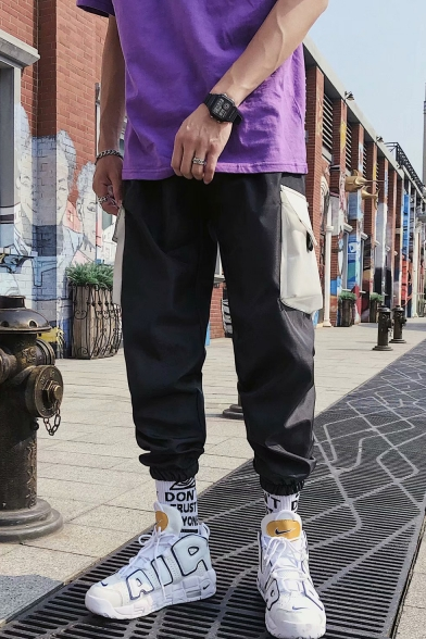 Men's New Fashion Colorblock Flap Pocket Loose Fit Casual Cargo Pants