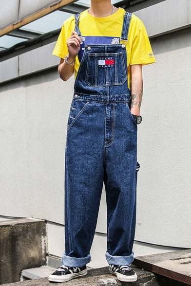 Men's New Fashion Letter Patch Loose Fit Rolled Cuffs Casual Denim Overalls