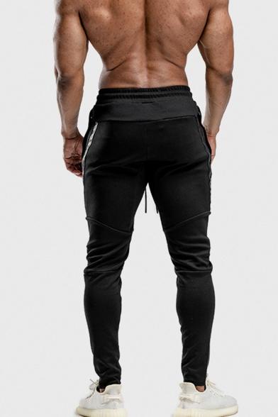Men's New Fashion Letter Printed Tape Side Drawstring Waist Casual Slim Jogging Pants Sports Pencil Pants