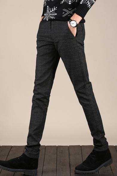 Men's New Fashion Simple Plain Slim Fit Casual Cotton Straight Dress Pants