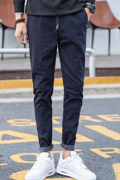 Men's New Fashion Stripe Pattern Drawstring Waist Casual Cotton Suit Pants Dress Pants