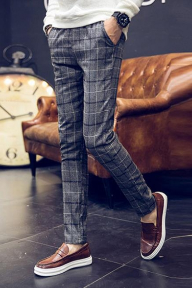 Men's New Stylish Plaid Pattern Slim Fitted Casual Dress Pants