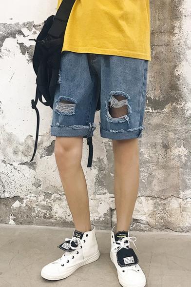 Men's Popular Destroyed Ripped Rolled Raw-edged Light Blue Plain Straight Denim Shorts