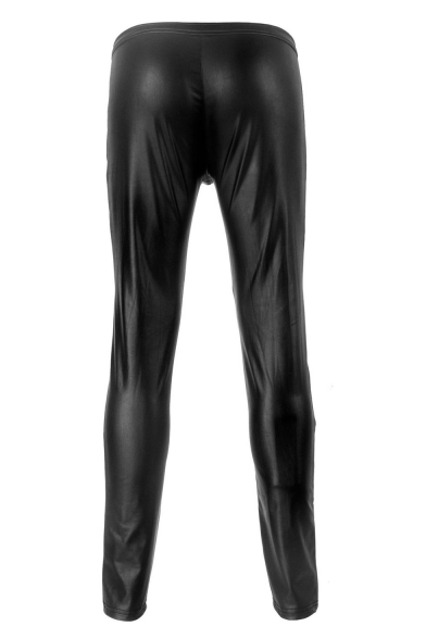 Men's Sexy Fashion Solid Color Zip-fly Black Skinny Leather Pants