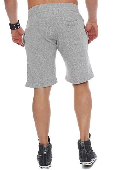 Men's Simple Fashion Lightning Logo Print Drawstring Waist Loose Fit Casual Sport Sweat Shorts