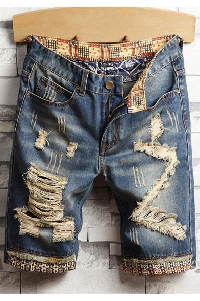 Men's Simple Plain Trendy Destroyed Ripped Detail Blue Casual Jeans Denim Shorts