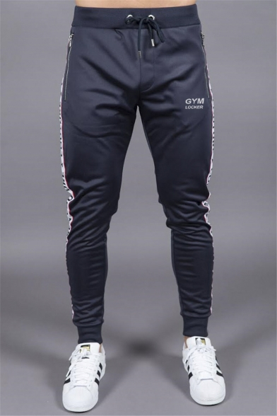 Men's Stylish Letter GYM Printed Tape Patched Side Drawstring Waist Zipped Pocket Casual Training Sweatpants