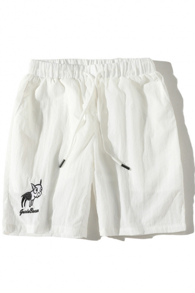 Men's Summer Fashion Cartoon Dog Letter Embroidery Drawstring Waist Casual Relaxed Shorts