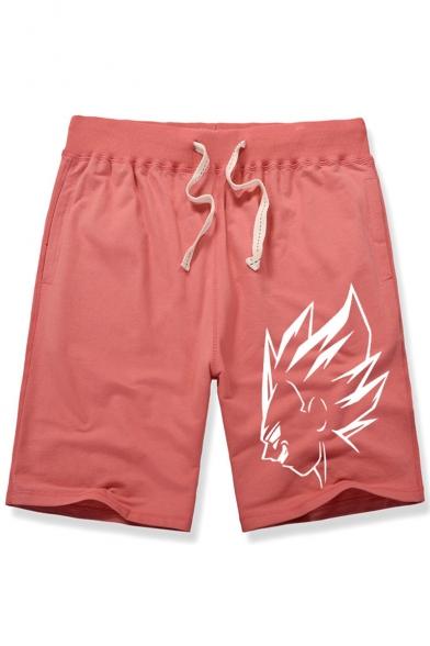 Men's Summer Fashion Popular Cartoon Character Printed Drawstring Waist Casual Cotton Sweat Shorts