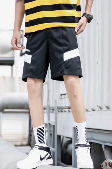 Men's Summer New Fashion Colorblock Letter Printed Casual Relaxed Shorts