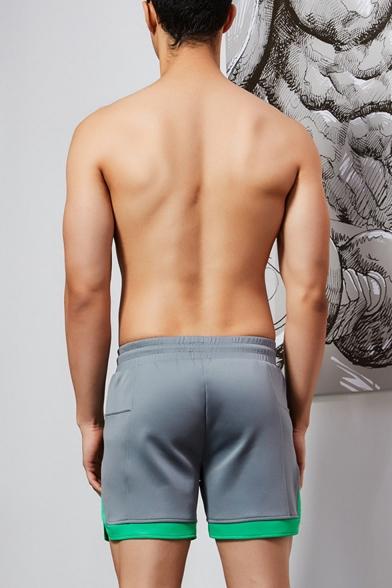 Men's Summer New Stylish Letter Printed Colorblocked Trim Drawstring Waist Casual Running Sweat Shorts