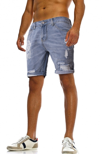 Men's Summer Trendy Cartoon Letter Printed Casual Frayed Ripped Denim Shorts
