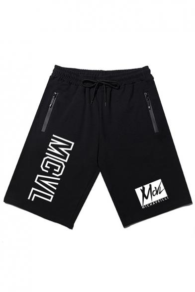 Men's Summer Trendy Letter MCVL Printed Zipper Pocket Drawstring Waist Casual Loose Sweat Shorts