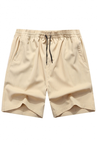 Men's Summer Trendy Stylish Stripes Printed Drawstring Waist Zipped Pocket Casual Shorts