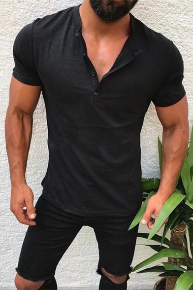 Mens Basic Simple Plain Button V-Neck Short Sleeve Slim Henley Shirt