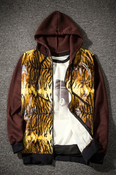 Mens Fashion Tiger Print Long Sleeve Zip Up Brown Hooded Coat Jacket