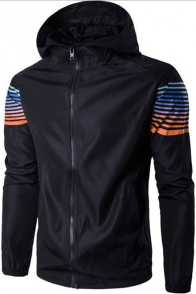 Mens Simple Striped Print Long Sleeve Sun Protection Zip Up Hooded Lightweight Jacket