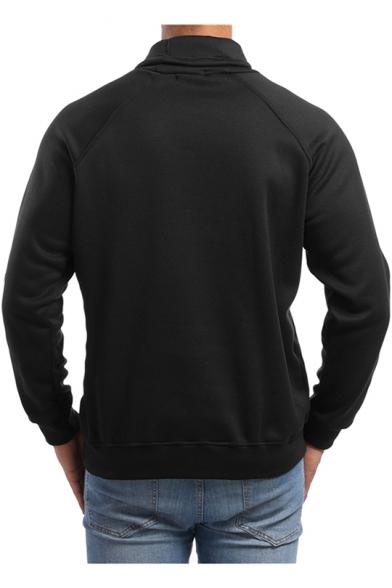 Mens Stylish Drawstring Funnel High Neck Long Sleeve Plain Slim Fit Sport Pullover Sweatshirt