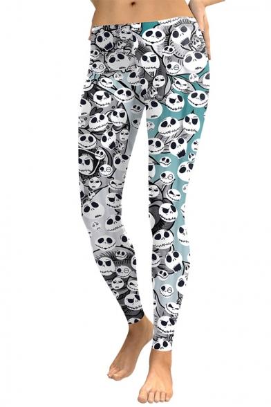 New Trendy Halloween Elastic Waist Skull Printed Colorblock Shaped Fit Legging Pants