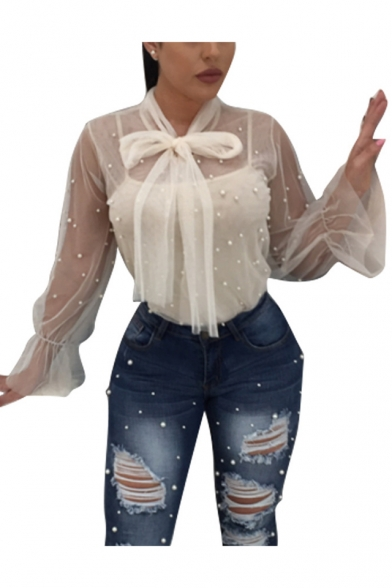 Sexy Night Club Chic Beading Embellished Bow-Tied Collar Long Sleeve Two-Piece Sheer Mesh Blouse