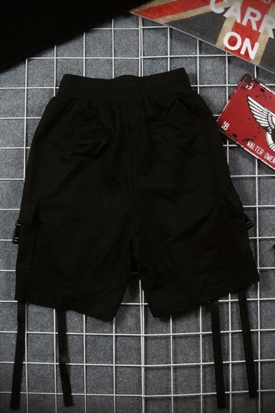 Street Style Trendy Letter Ribbon Embellished Drawstring Waist Black Cotton Hip Pop Sweat Shorts