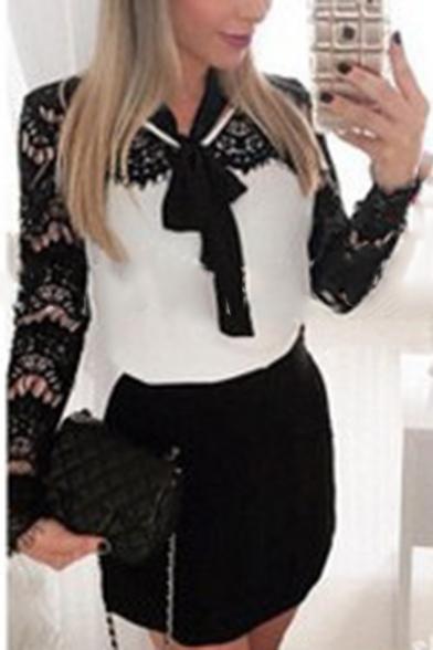 Stylish Hot Sale Patch Lace Sleeve Bow Belt Embellished Chic Mini Dress