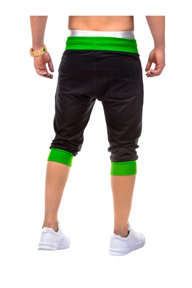 Summer Fashion Colorblocked Trim Drawstring Waist Casual Sports Shorts for Men