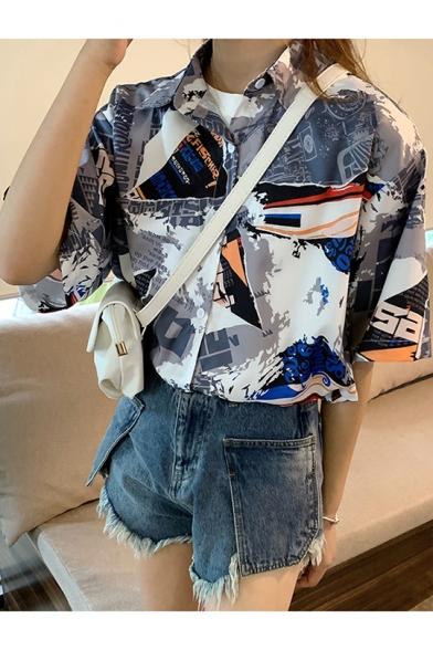 Summer Girls Street Fashion Pattern Short Sleeve Casual Button Shirt