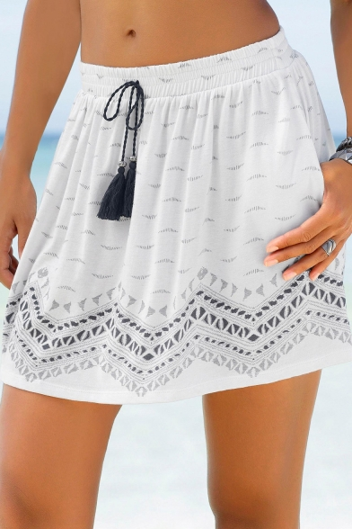 Summer Hot Fashion White Tribal Print Drawstring Waist Mini Beach Skirt