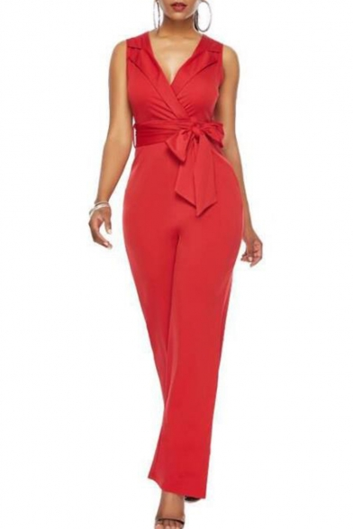 Summer Hot Street Style Plain V Neck Lapel Collar Sleeveless Tie Waist Office Jumpsuits