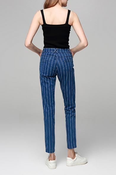 Summer New Trendy Vertical Striped Printed Rolled Hem Casual Jeans