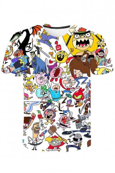 Summer Stylish Cartoon Comic Character Printed Round Neck Short Sleeve T-Shirt