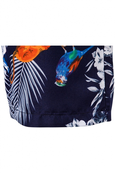 Summer Stylish Floral Birds Pattern Drawstring Beach Short Swim Trunks for Guys with Pockets