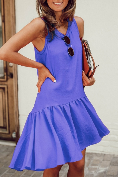 Summer Women's Hot Trendy Simple Plain Round Neck Sleeveless Casual Ruffled Tank Dress