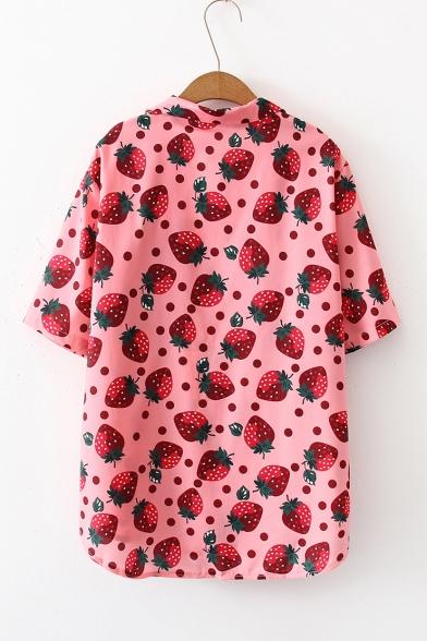 Sweet Girls Pink Strawberry Pattern Lapel Collar Short Sleeve Button Shirt