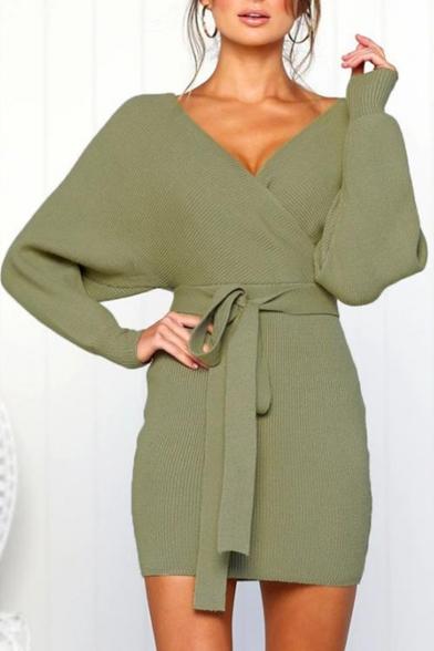 Women Hot Stylish Plunge V Neck Long Sleeves Tie Waist Plain Knitting Warm Mini Dress