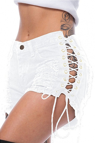 Womens Cool Streetwear Sexy Hollow Out Lace-Up Side Distressed Ripped Hot Pants Club Denim Shorts