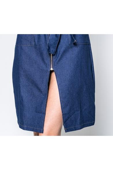 Womens Elegant Blue Round Neck Sleeveless Zipper Front Bow-Tied Waist Midi A-Line Denim Dress