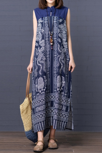 Womens Ethnic Style Tribal Printed Frog Button Stand Collar Sleeveless Blue Maxi Linen Swing Dress