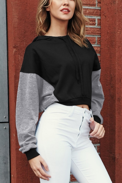 Womens Fashion Colorblock Long Sleeve Loose Leisure Cropped Hoodie