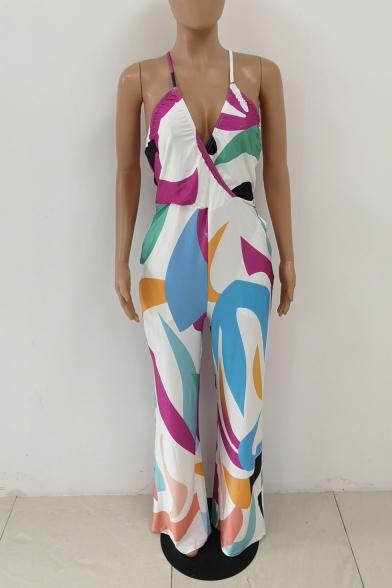 Womens Hot Fashion Colorblock Plunge V-Neck Straps Sleeveless Belt Waist Wide Leg Jumpsuits